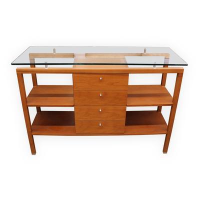 Modern Teak 4 Drawer Console Table