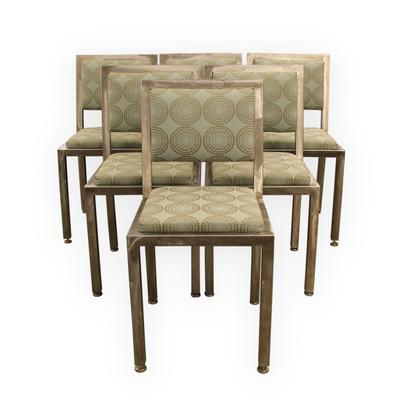 Set of 6 Steel Starburst Modern Dining Chairs