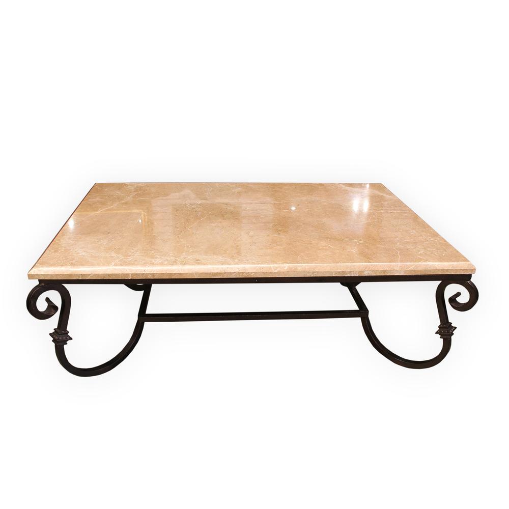 Custom Marble Top Iron Base Coffee Table