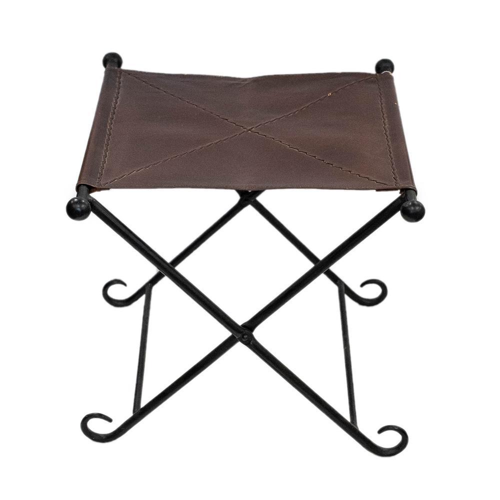 Leather And Iron Folding Stool