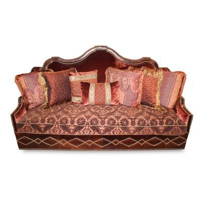 Paul Robert Ornate Humpback Sofa with Pillows