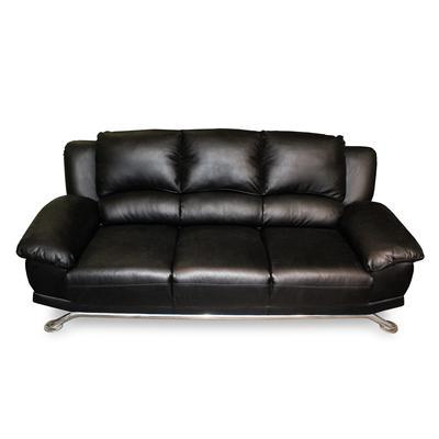 Modern Black Faux Leather Sofa