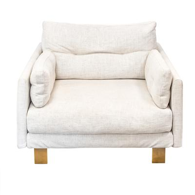 Jonathan Adler Linen Club Chair with Gold Legs