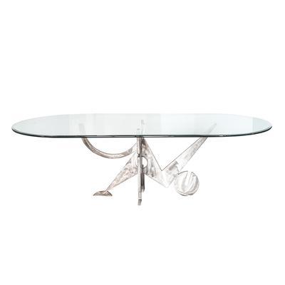 Custom Metal Art Base & Oval Glass Top Table