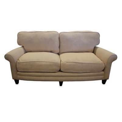 Off White Down Filled Chevron Pattern Sofa