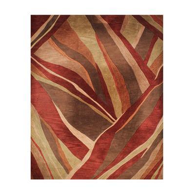 Rust Abstract Wool Rug