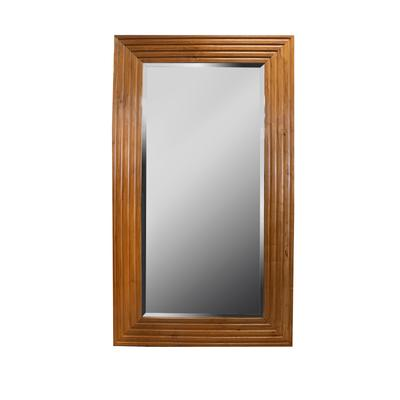 Large Beveled Wood Frame Mirror