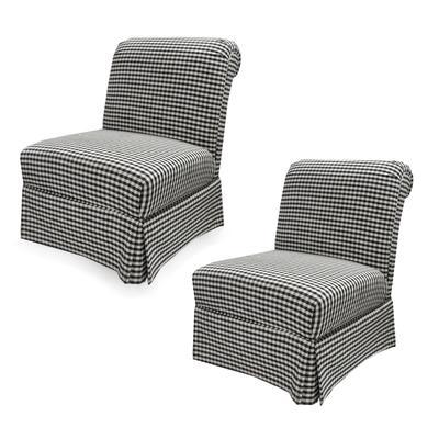 Pair of Checkered Slipper Chairs