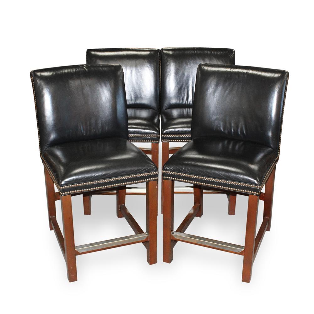 Set Of 4 Michael Thomas Leather Barstools