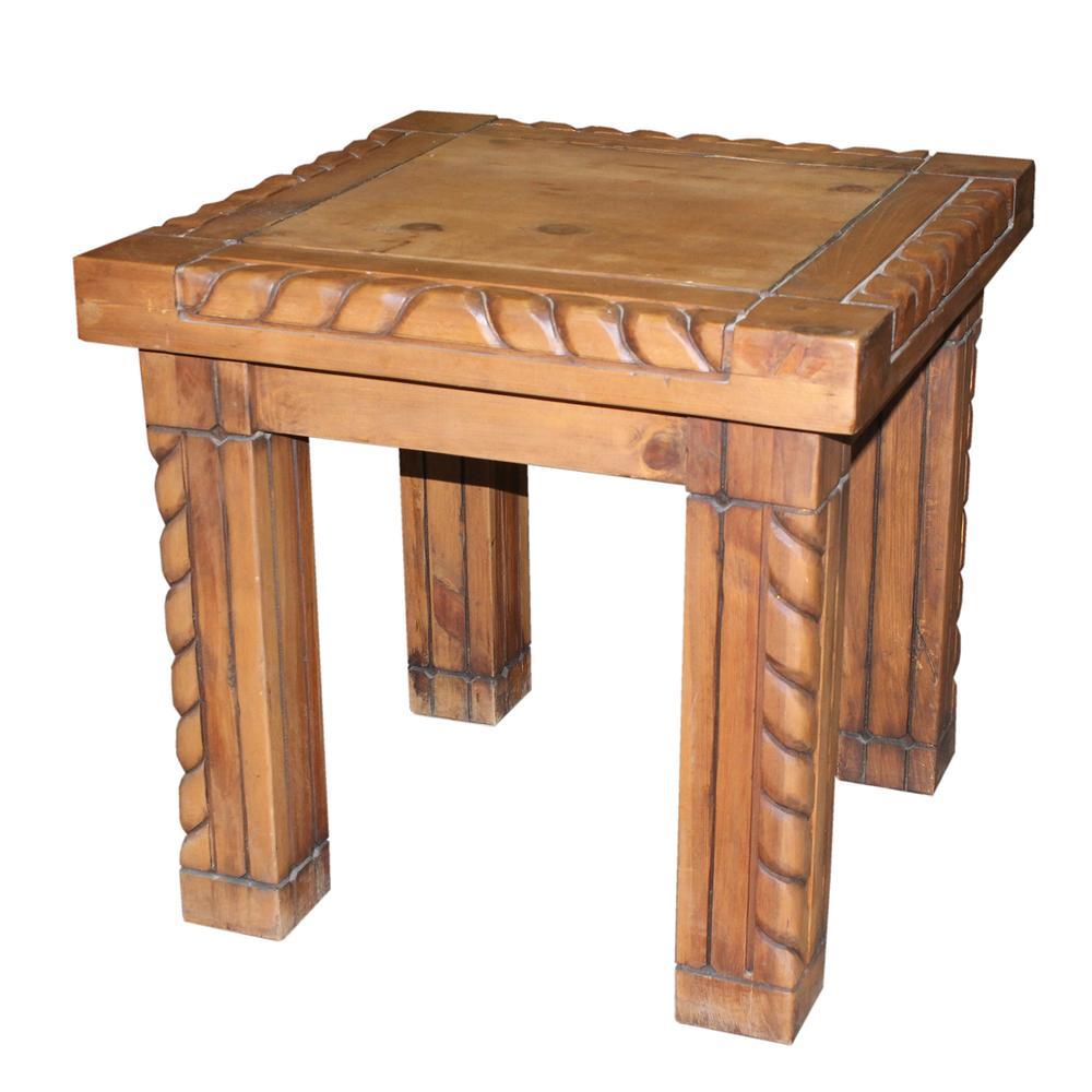 Fiesta Furnishings Carved Wood End Table