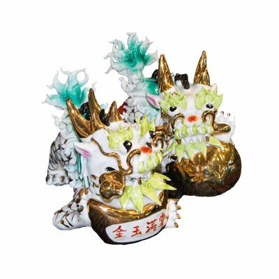Pair of Ceramic Chinese Dragons