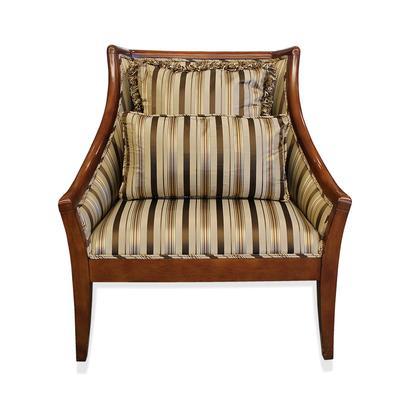 Custom Striped Fabric Arm Chair