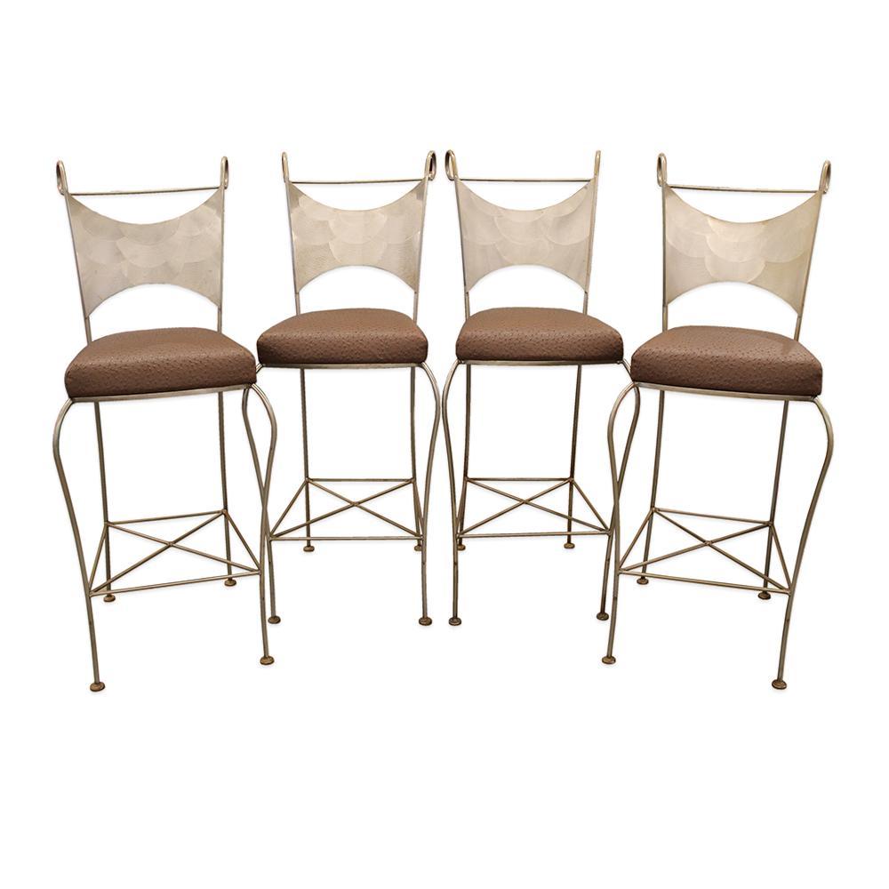 4 Piece Leather Seat Steel Barstools