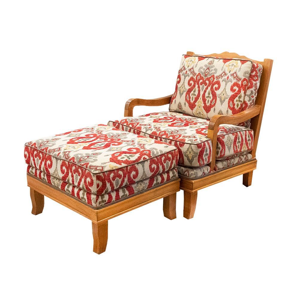 Wood Frame Chair W/Ottoman
