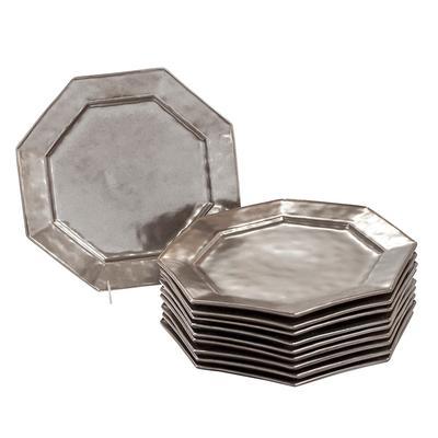 Set of 10 Neiman Marcus Pewter Stoneware Octagon Plates