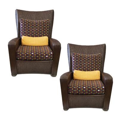 Pair of Ason Garrett Outdoor Rattan Chairs