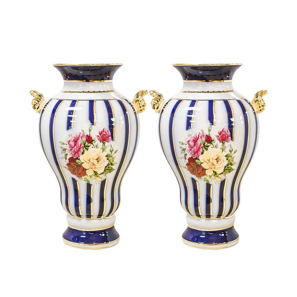 Pair Of Limoges Blue Stripe & Rose Vases