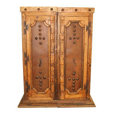 Set of 2 Custom Gilded Iron Storage Cabinets