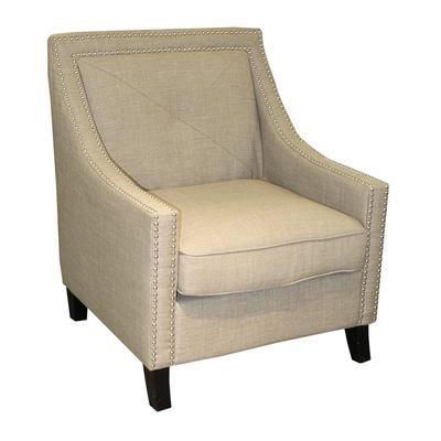Taupe Modern Nailhead Arm Chair