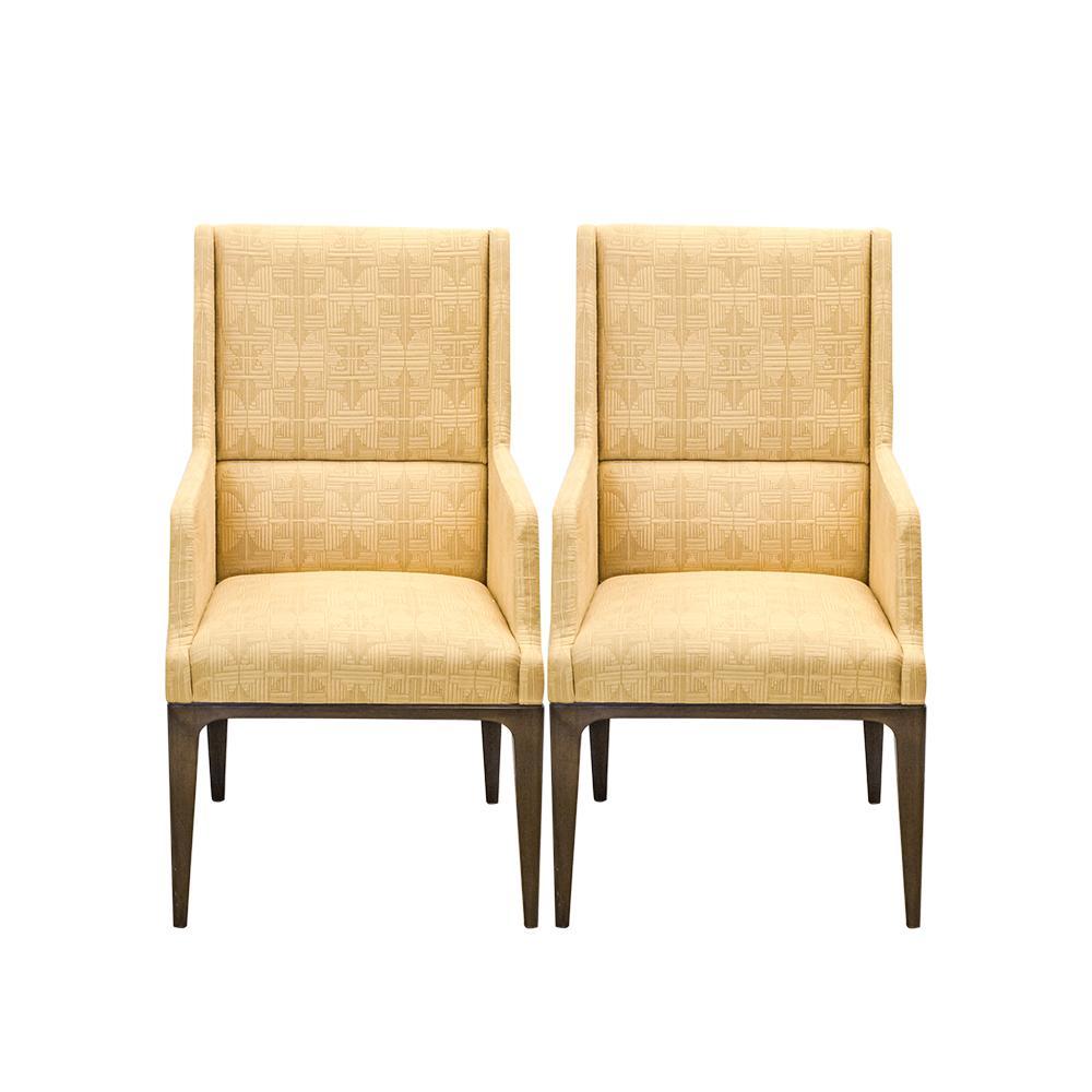 Pair Of Custom Yellow Frank Lloyd Wright Chairs
