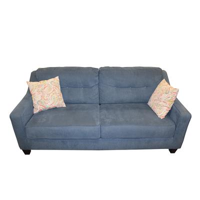 Ashley Blue Custom Sofa with Orange Floral Pillows