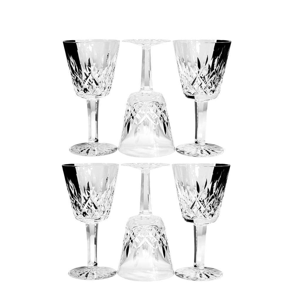 Set Of 6 Lismore Claret Waterford Crystal Wine Glasses