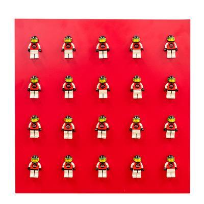 Red Racecar Driver Lego Figure Art