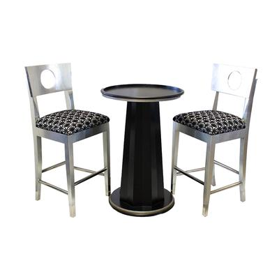 Three Piece Silver and Black Pub Set