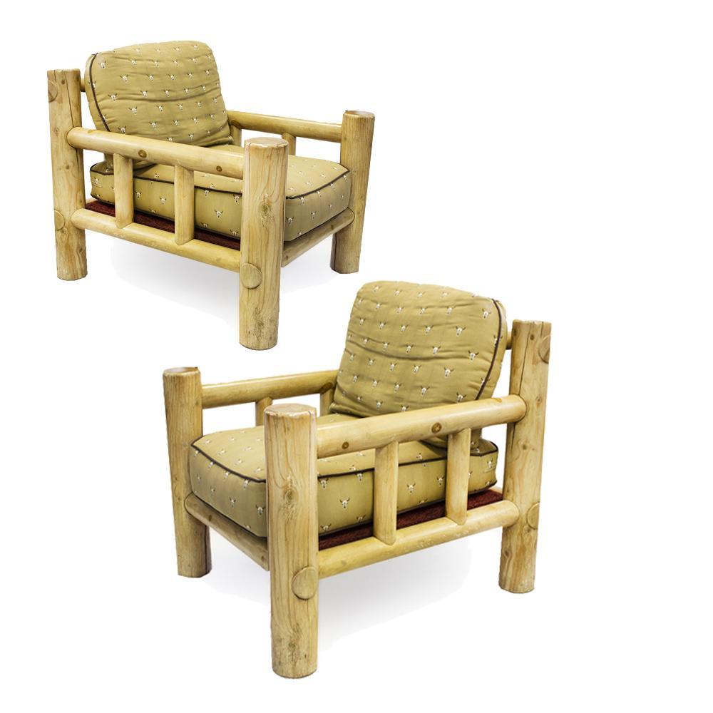 Pair Of Lodge Pole Club Chairs